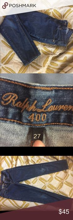 Ralph Lauren 400 skinny jeans in deep blue Ralph Lauren 400 skinny jeans in deep blue. Good condition, slight discoloration on right knee. Ralph Lauren Jeans Skinny