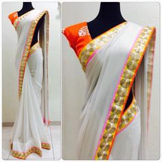 Dull white with gold mix shimmer Georgette Saree!!! Price : 92 SGD