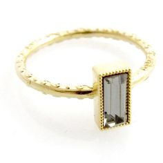 Swarovski Stackable Small Baguette Ring | Skinny