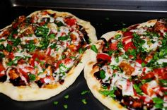 Personal Grilled BBQ chicken pizza - my GO TO Recipe