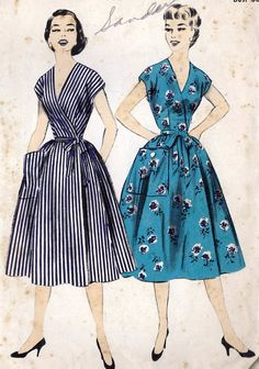 Vintage 1950s Advance Sewing Pattern 7753 -  Misses' Apron Dress. Only Three Major Pattern Pieces for this easy-to-slip-into wrap dress. One Major Pattern Piece Bodice has front, back and sleeve in one. Surplice front .. deep V-neck in back. Wide front lapover held in place by self-ties which wrap around waistline and tie in a bow at front. Two Major Pattern Piece Skirt .. buttoned patch pocket.