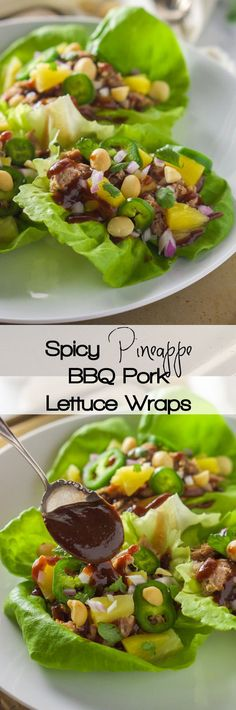 All the flavors of our favorite pizza but in a slimmed down dish! Spicy Pineapple BBQ Pork Lettuce Wraps are sweet, spicy and a quick dinner that is perfect for entertaining or any weeknight!