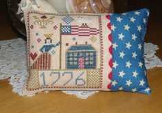 US Patriotic cross stitch mini pillow ornament