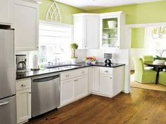 Small Kitchen Paint Colors with White Cabinets — Deco Home Decor Kitchen Colour Schemes, Kitchen Paint Colors, Color Schemes, Color Combinations, Painting Kitchen Cabinets White, White Cabinets, Kitchen Walls, Birch Cabinets, Glass Cabinets