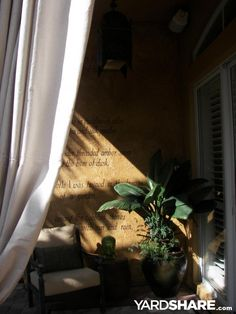 Florida Tropical Bali/Moroccan Oasis: My daughter wrote this poem for me about my garden.  I washed the wall with glaze and paint to make