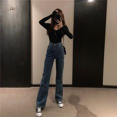 High Waist Jeans - Women Straight Jeans - Ideas of Women Straight Jeans - High Waist Jeans – Women Straight Jeans – Ideas of Women Straight Jeans You - Adrette Outfits, Teen Fashion Outfits, Retro Outfits, Cute Casual Outfits, Fall Outfits, Casual Jeans, Simple Outfits, Casual Korean Outfits, Cute Grunge Outfits