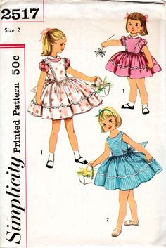 #Vintage #Sewing #Pattern Simplicity 1958 Girls Dress and Pinafore