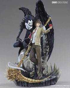 LIGHT & RYUK DIORAMA by Oniri Creations. Ryuk is a Shinigami who indirectly gives Light Yagami a Death Note. Death Note Anime, Death Note デスノート, Death Note Fanart, Death Note Light, Cosplay Death Note, Shinigami, Otaku, Art Manga, Manga Anime