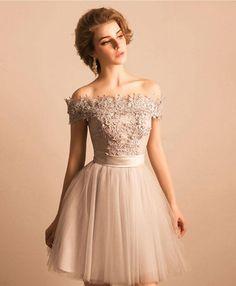 Cute gray lace tulle off shoulder prom dress, homecoming dress, short dress for teens #promdress #prom #dress #weddingdress