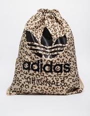 Adidas Originals – Rucksack mit Kordelzug und Leopardenmuster