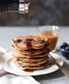 These delicious gluten-free, vegan pancakes are heart healthy, high in fiber, and doable from start to finish in 10 minutes flat!