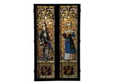 Antique Neo-Gothic style stained glass window signed and dated by Hubert and Martineau (Reference - Available at Gallery Marc Maison Antique Stained Glass Windows, Stained Glass Art, Architectural Antiques, Architectural Elements, Art Nouveau, Acid Etched Glass, Clear Ornaments, Window Signs, Knight Armor