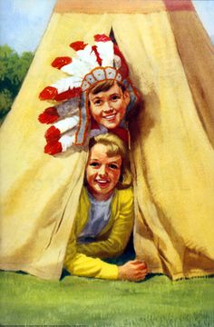 Peter and Jane in a teepee - Play with Us - Ladybird Books 1964 - this is me & my friend, Steve, when we were little! I loved my Indian costume & teepee! Images Vintage, Retro Images, Vintage Posters, Janet And John Books, Ladybird Books, Paddington Bear, My Childhood Memories, Book Illustration, Vintage Children