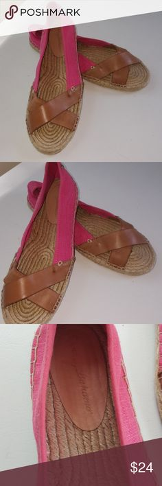 Adorable Tommy Bahamas! Veranda style slip on shoes, EUC, linen upper and lining, balance man made. Pink with tan leather style design on top. Great shoes. Size 8.5 Tommy Bahama Shoes Flats & Loafers