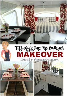 Tiffany's Pop Up Camper Makeover - Inspired by the pop up camper makeovers she'd seen on the blog, Tiffany gave her own home away from home a little face lift.  She created a gorgeous, unique space to