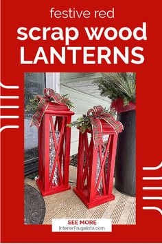 These large DIY Festive Red Scrap Wood Lanterns with farmhouse style are easy on the pocket book! Made with recycled materials they are gorgeous budget-friendly front porch Christmas decor on convenient set and forget light timers. #christmaslanterns #outdoorlanterns #frontporchchristmasdecor #diyrecycledlanterns Diy Christmas Decorations For Home, Christmas Crafts For Kids To Make, Christmas Lanterns, Diy Christmas Ornaments, Handmade Decorations, Christmas Projects, Holiday Crafts, Christmas Ideas, Large Lanterns