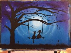 Night sky silhouette painting, beginners lesson diy how to fairy step by step painting easy - YouTube
