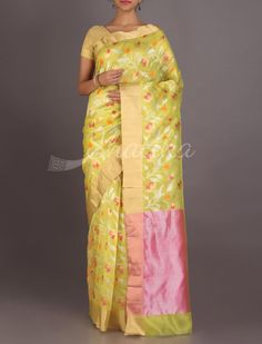 Aakriti Fresh Lime Gold And Silver Full Bloom Real Zari #ChanderiPattuSaree