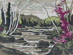 "River Rapids ALEXANDER YOUNG (A.Y.) JACKSON RCA, OSA, CGP (Canadian 1882 - 1974 )  Silkscreen 15"" x 20"" (38.1 x 50.8cm.)"