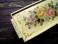 Vintage Handpainted Cabbage Roses Decorative Wooden Tole Tray Shabby Cottage Kitchen Decor 1940's Traditional Victorian Style Serving Tray by LionheartSalvage on Etsy