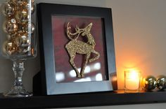 dollar store Christmas decor crafts. I use a frame and cut out images from previous years Christmas cards for behind the glass - replace a regular pic frame at Christmas - easy way to decorate!