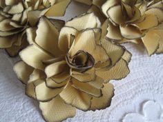 Golden Saffron Paper Flowers  Handmade  Set by mjsPaperCreations, $10.00