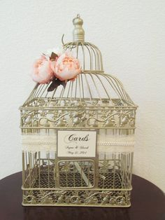 #BirdCageWeddingCardholder Shop - Birdcage #WeddingCardholder in Champagne With Blush Peonies, Lace  http://www.birdcageweddingcardshop.com/birdcage-wedding-cardholder-in-champagne-with-blush-peonies-lace-pearls-customized-lgd005/