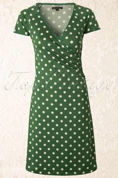 King Louie - 50s Polkadot Cross Dress in Green Partypolka