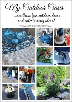 See my fun Outdoor Oasis Decor and Entertaining Ideas! www.settingforfour.com
