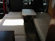 Deep Red - A self-build motorhome - beds & seats Rv Sofa Bed, Diy Sofa, Boat Interior, Camper Interior, Rv Storage, Storage Spaces, Camper Furniture, Campervan Bed, Camper Beds