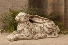 New Country Vintage Style LARGE GARDEN BUNNY Rabbit Figurine Statue