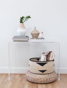 acrylic console / baskets / neutrals
