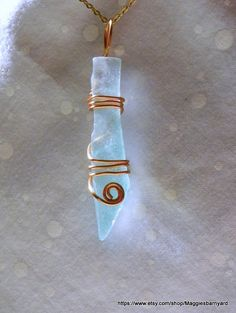 Wire Wrapped Sea Glass Pendant