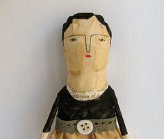Quietness - a mixed media folk art doll