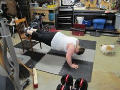 Day 51 of Power 90. Decline Push-ups! I could barely do 10 regular push-ups in the beginning! Pics from my weight loss blog.