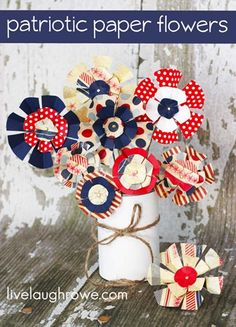 DIY Patriotic Paper Flowers from livelaughrowe. Fourth of July kids craft.  Holiday decorations.