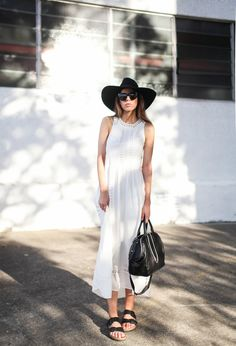 modern legacy fashion blog style blogger white maxi dress summer street style birkenstock sandals wide fedora hat alexander wang bag celine sunglasses monochrome 1 (5 of 8)