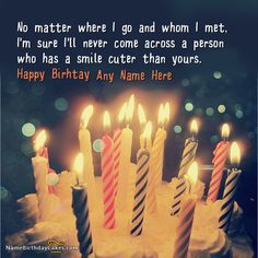 write name on Candles Cute Birthday Wish picture