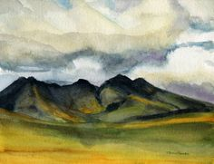 Scottish Highlands,  Yellow Fields  - Original Watercolor Painting by Julia Raven size 8x10 inches