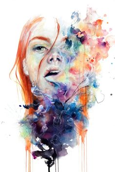 """""""this thing called art is really dangerous"""", a watercolor by Silvia Pelissero, aka agnes-cecile, an Italian self-taught artist who paints abstract figurative portrait paintings Watercolor Portraits, Watercolor Paintings, Art Paintings, Abstract Portrait, Painting Art, Portrait Paintings, Smoke Painting, Surreal Portraits, Watercolor Journal"""