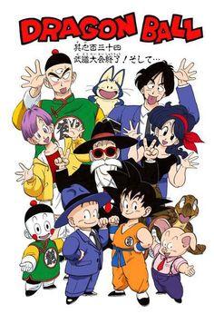 Bulma, Goku, Krillin, Yamcha, Puar, Oolong, Roshi, Turtle, Tien, Chiaotzu, and Lunch