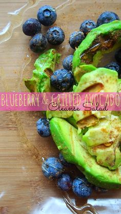 blueberry and grilled avocado salad with a cinnamon and honey drizzle