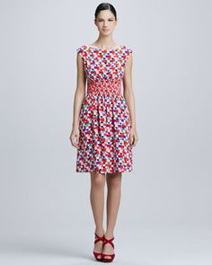 This dress looks incredibly flattering - something you could wear on a date or even to a casual summer wedding; Blaire tile-print dress by kate spade new york at Neiman Marcus.
