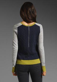 AUTUMN CASHMERE Color Block Zip Back Sweater