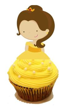 Your Cupcake is Her Dress  Princess Belle Beauty and the Beast Cupcake Toppers Birthday Party Decorations Set of 12 Unique and very cute