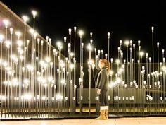 IKEA Lamp Installation by LikeArchitects in Lisbonne Landscape Lighting, Outdoor Lighting, Landscape Architecture, Landscape Design, Installation Architecture, Bühnen Design, Ikea Design, Instalation Art, Stage Design
