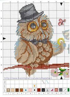 Owl bride and groom Cross Stitch Owl, Cross Stitch Borders, Cross Stitch Animals, Cross Stitch Charts, Cross Stitch Designs, Cross Stitching, Cross Stitch Embroidery, Embroidery Patterns, Cross Stitch Patterns