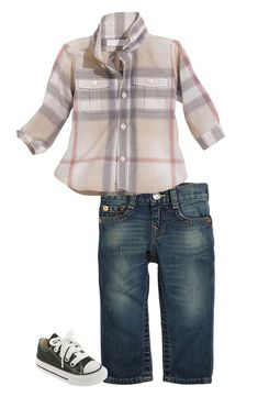 Toddler Boy Outfit, Burberry Shirt & True Religion Brand Jeans