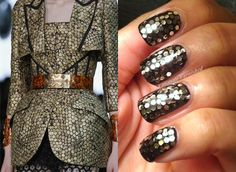 McQueen Suit inspired mani - black cream base with individual gold glequins applied and clear topper over it all to seal.