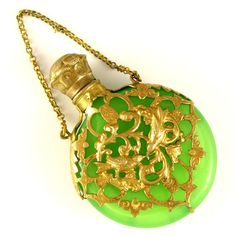 Antique French Green Opaline Glass Scent / Perfume Bottle Chatelaine, Bird Motif  A lovely French Napoleon III era opaline glass scent bottle.
